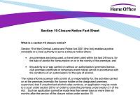 Criminal Justice Police Act 2001 closure notice
